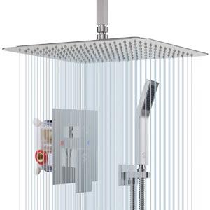 SR SUN RISE 12 Inch Ceiling Mount Bathroom Luxury Rain Mixer Shower