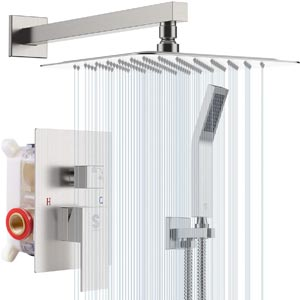 SR SUN RISE 12 Inches Wall Mount Bathroom Luxury Rain Mixer Shower
